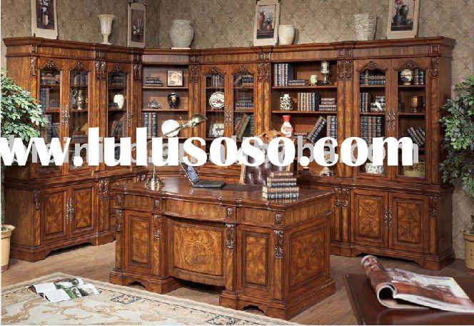 corner bookcase | solid wood study desk and genuine leather chair | study room furniture B49132