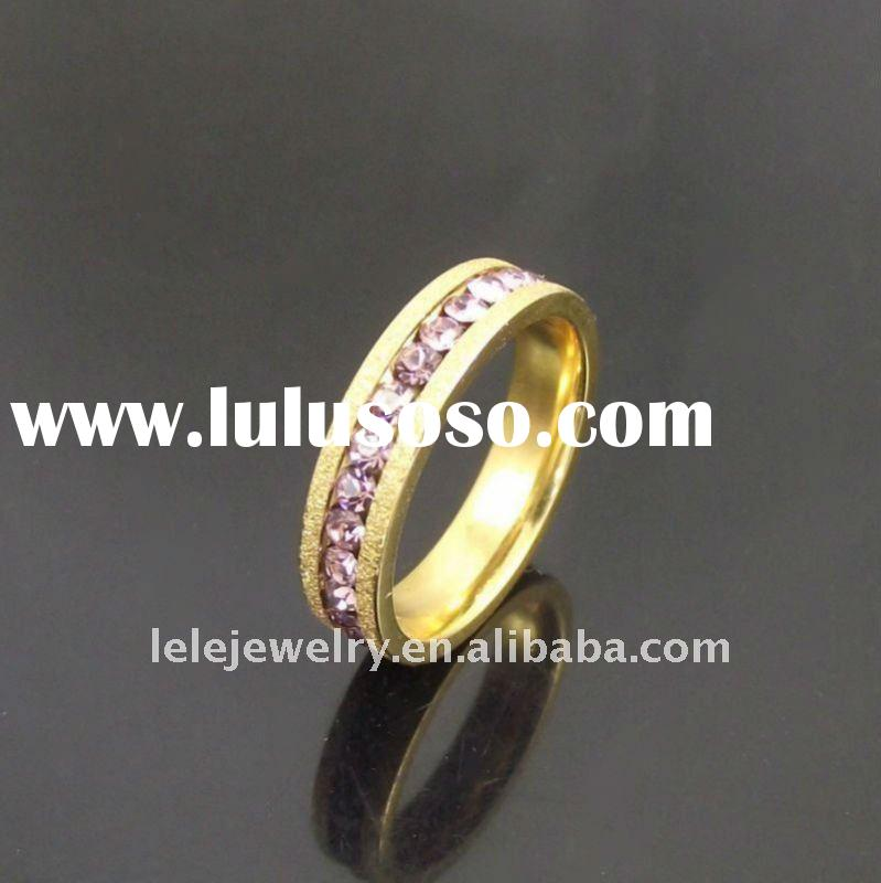 fashion gold stainless steel rings jewellery with pink crystal