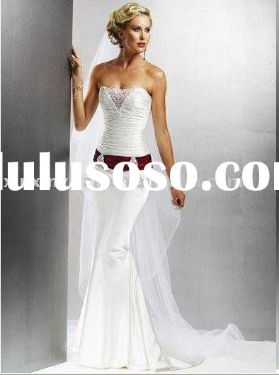fishtail wedding dress with red lace-high quality and resonable price