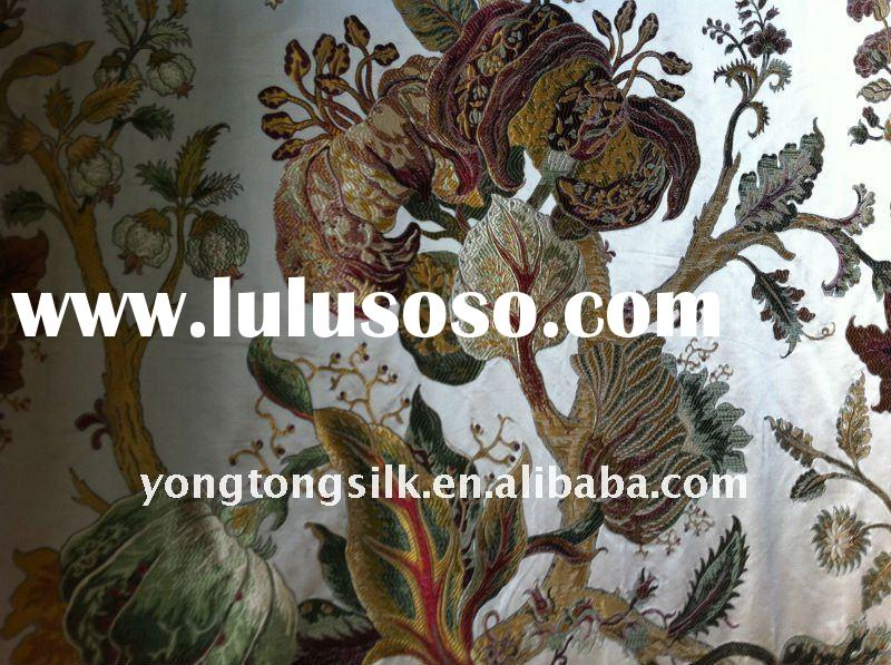 floral pattern silk rayon blend jacquard sofa curtain fabric