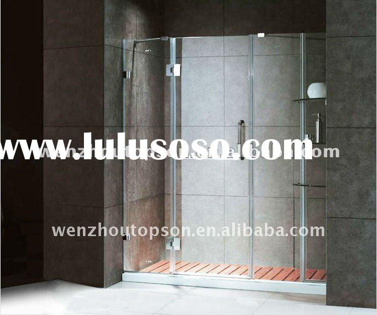 frameless pivot shower door with inline panel