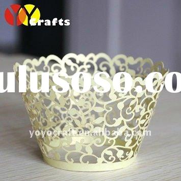 "hot selling wedding party supplies cake decoration ""flower branch"" filigree cupcake wrappe"