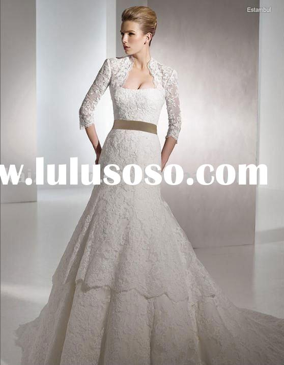 lace ribbons long sleeves wedding dress 2011 hot bridal gown