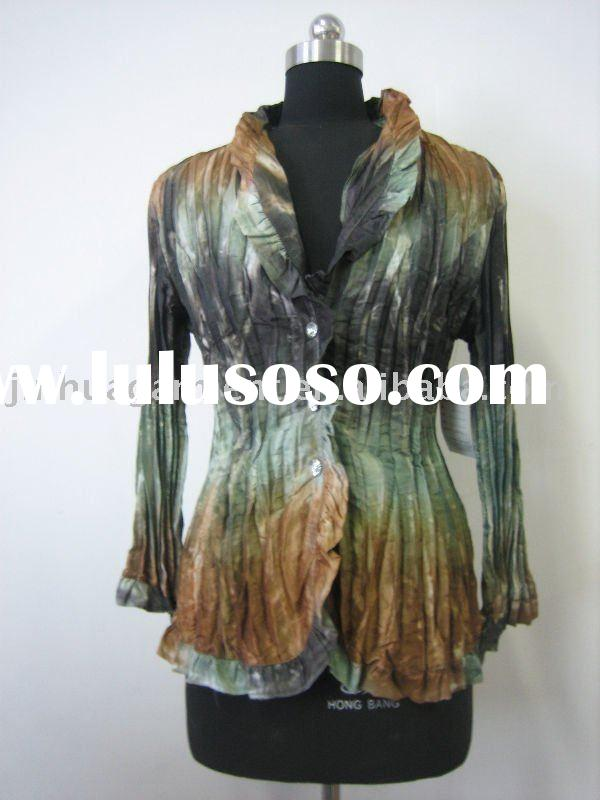 ladies' fashion 100% polyester pleated and tie-dyed blouses