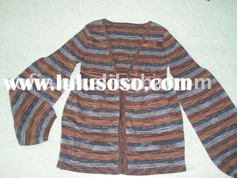 ladies's fashion space dye cardigan with tape knitted sweater
