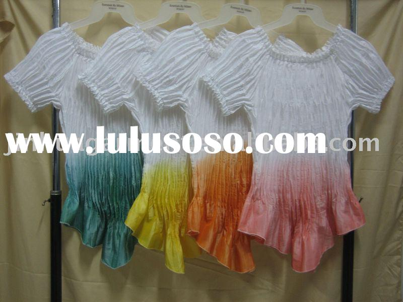 ladies' tie-dyed and pleated tops with short sleeves