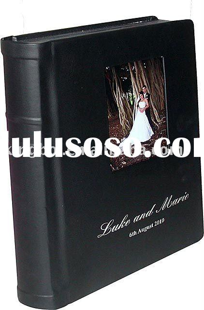 leather cover flush mount album with window for wedding photo