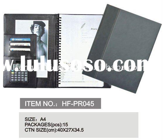 leather pu oxford portfolio padfolio file folder with logo embossed, with memo pad and pen holder ca