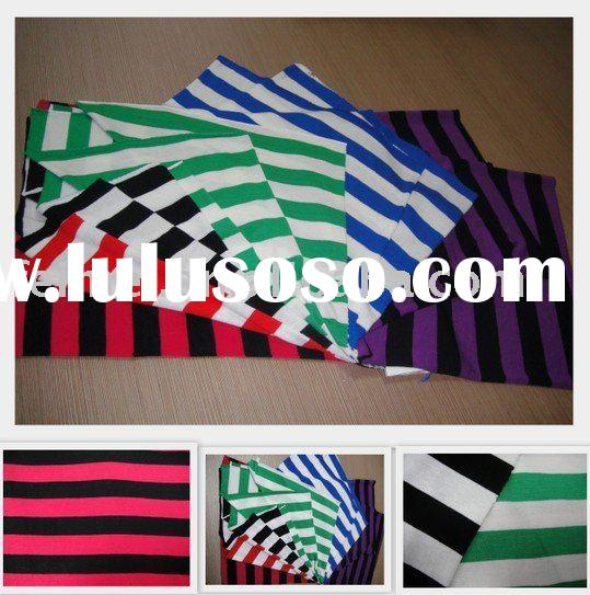 lycra spandex cotton yarn dyed stripe knitted fabric for t-shirt