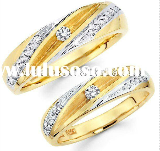 matching his & hers diamond two-tone wedding band set