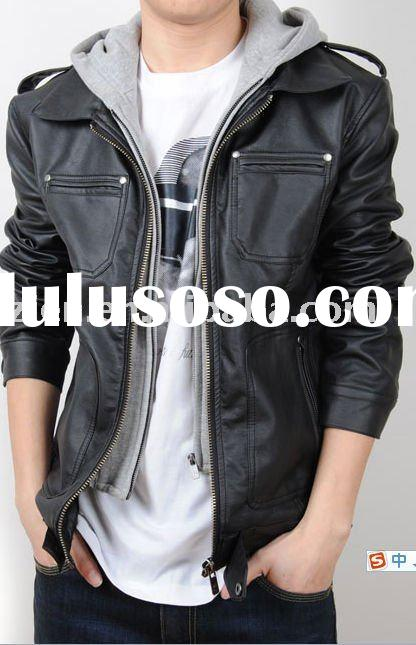 men's hooded double collar washed leather jacket