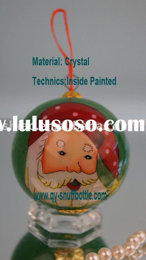 merry christmas gifts of 7cm glass ball inside painted for ornaments as chrismas hanging decor on pr