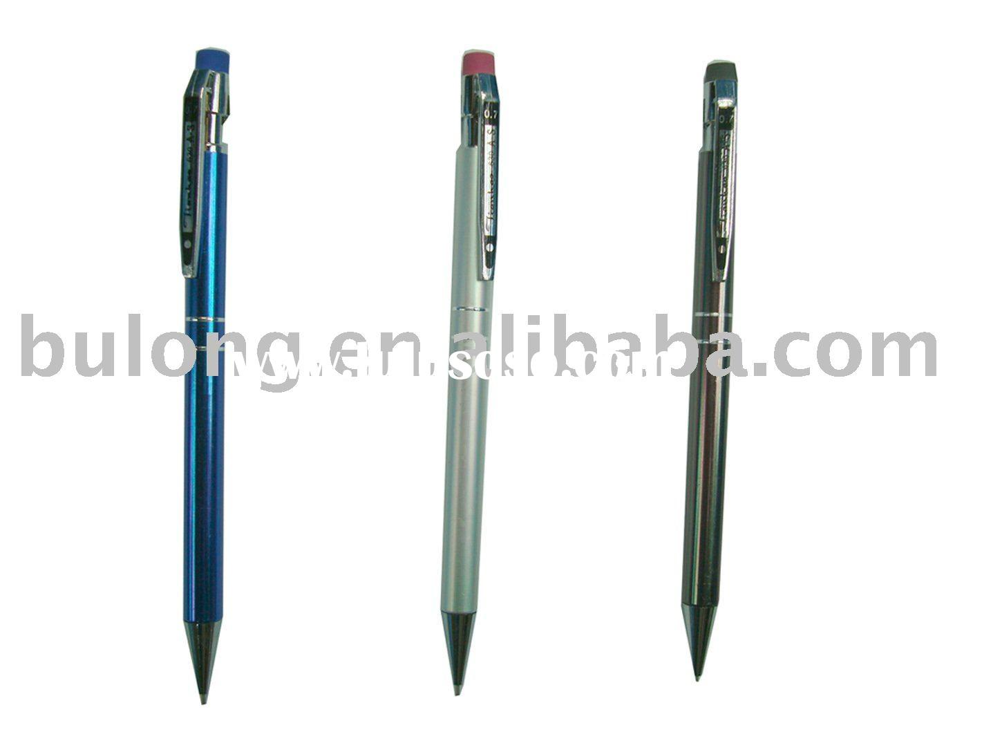 metal mechanical pencil with eraser on the top