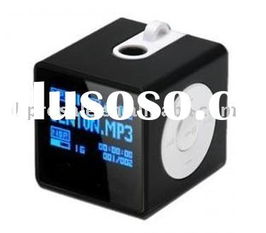 mini Cube mp3,Desktop flash MP3 player with built in speakers and clock functions,external card slot