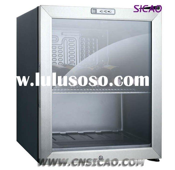 mini fridge with double transparent glass door for dispaly wine,beer,beverage,drink