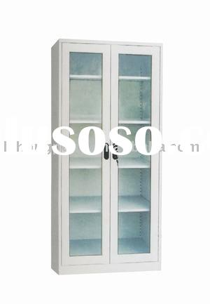 modern glass display cabinet with two doors