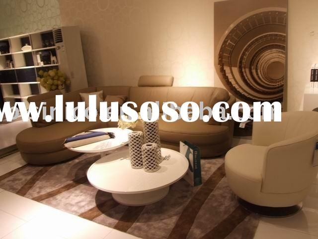 modern leather sofa, round table, home furniture