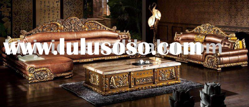 most comfortable and luxury antique european style genuine leather sofa set. chesterfield sofa. vill