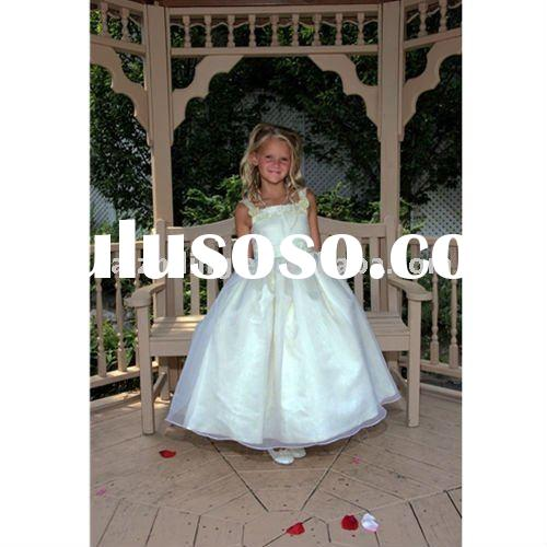 organza ribbons long flower girl dress/kid dress 2011/girl dresses