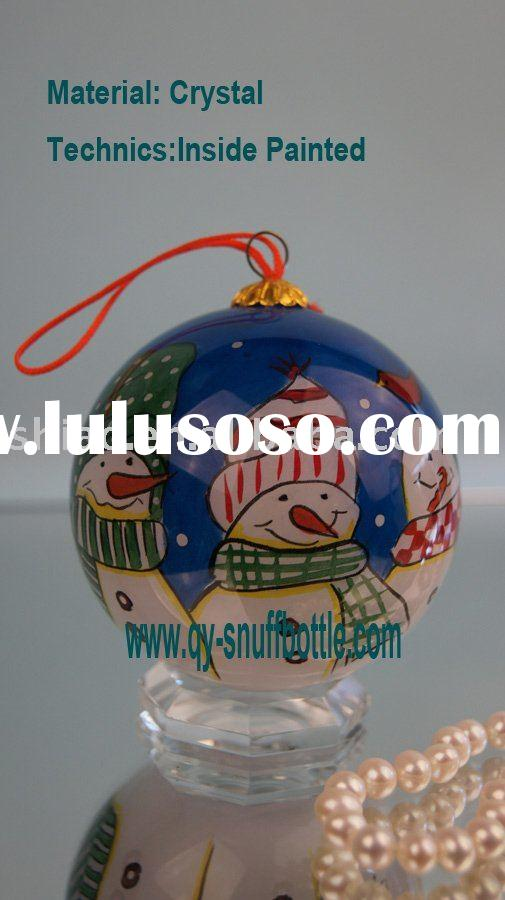 outdoor christmas decorations of 7cm glass Christmas ball ornament inside painted Christmas motifs o