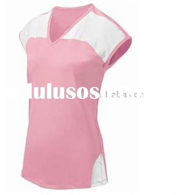 pink girl's sports jersey,cotton volleyball uniform ladies