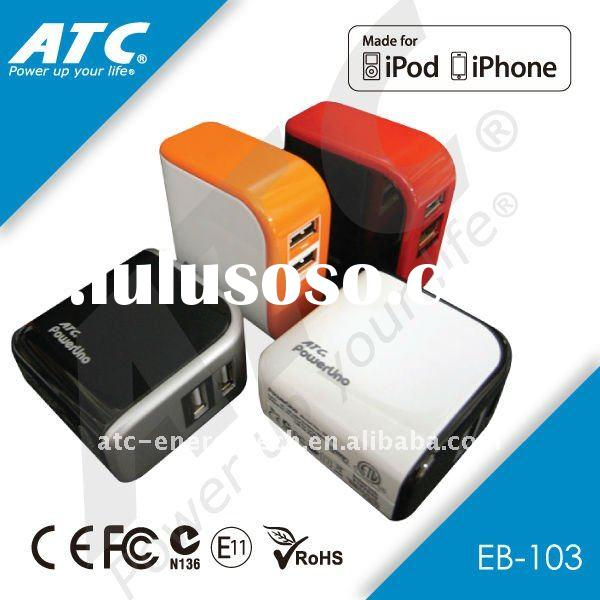 portable 2 usb charger for iphone, ipad, ipod and universal mobile phones