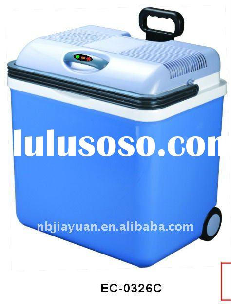 portable Mini car fridge with temperature display and wheels 26L