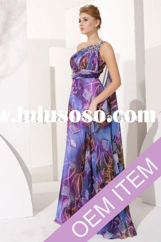 print chiffon one shoulder prom dress with beaded