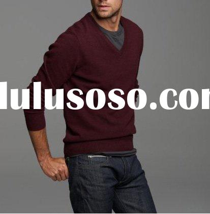 pullover sweater men (95%cotton 5%Cashmere) V neck pullover men high quality SWT-M10105