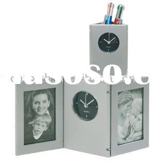 quartz clock,desk clock,table clock,desk clock with photo frame,promotional clock,novelty clock, pla