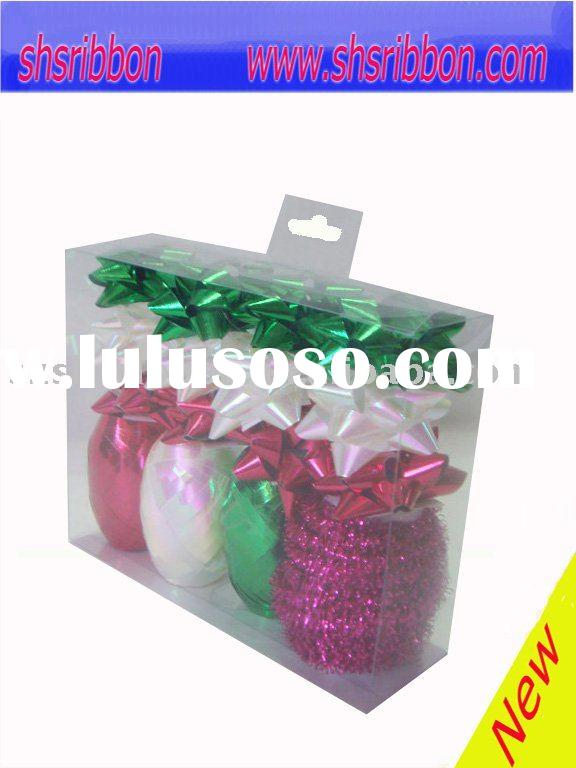 ribbon,christmas decoration.gift wrapping set,Polyester curling ribbon bow and star bow set