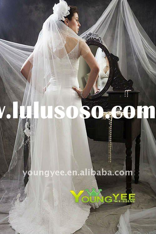simple two-layer lace Bridal Veils 2011 hot sale, long lace trim wedding veil 2011