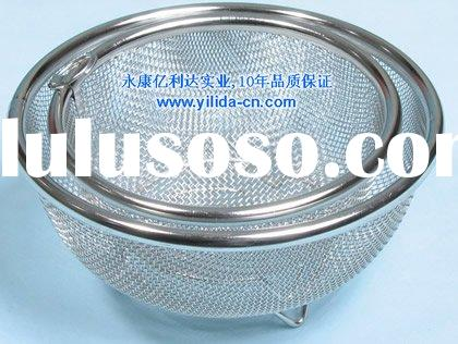 stainless steel net wire mesh bowl basket colander strainer (YLD010-A)