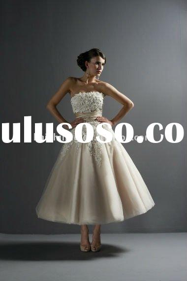 strapless lace applique ribbons kenn length short sumer 2011 wedding dress