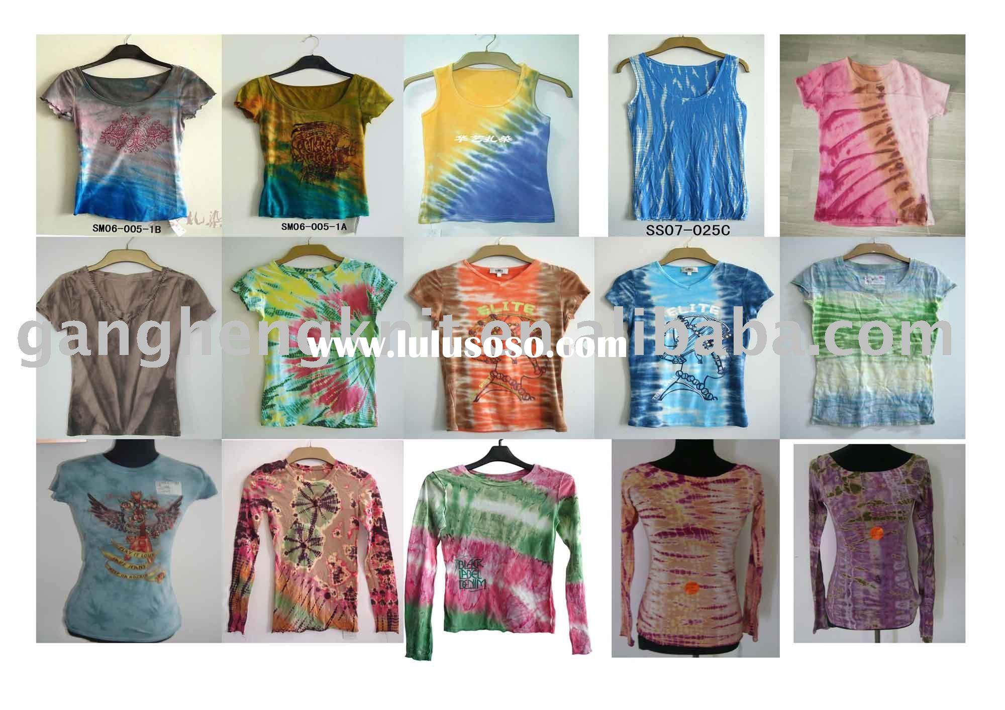 suit for ladies' 100% cotton jersey with tie dyed T-shirt