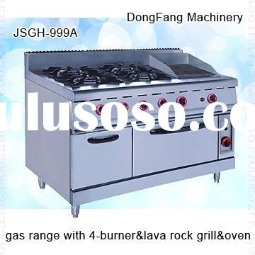 table top gas burner stainless steel JSGH-996A gas range with burner and lava rock grill and oven