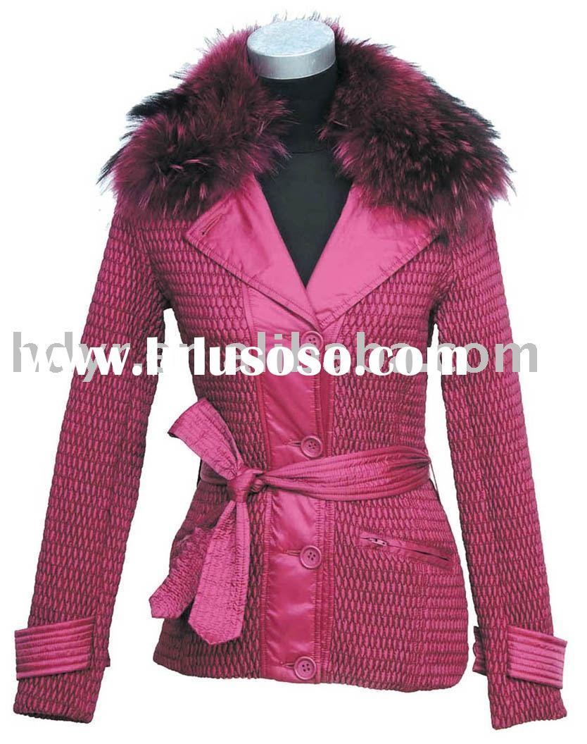 till nylon Women's Padded Jacket with fur collar in sangria