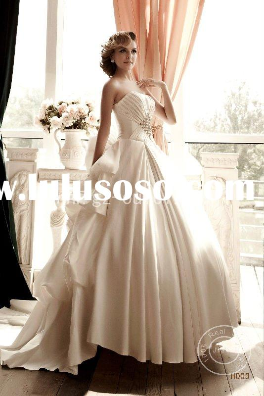 wedding dress beads lace ribbons ruched crystal train bridal dress