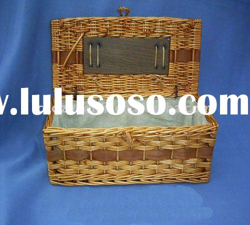 wholesale empty rectangle wicker picnic basket with liner