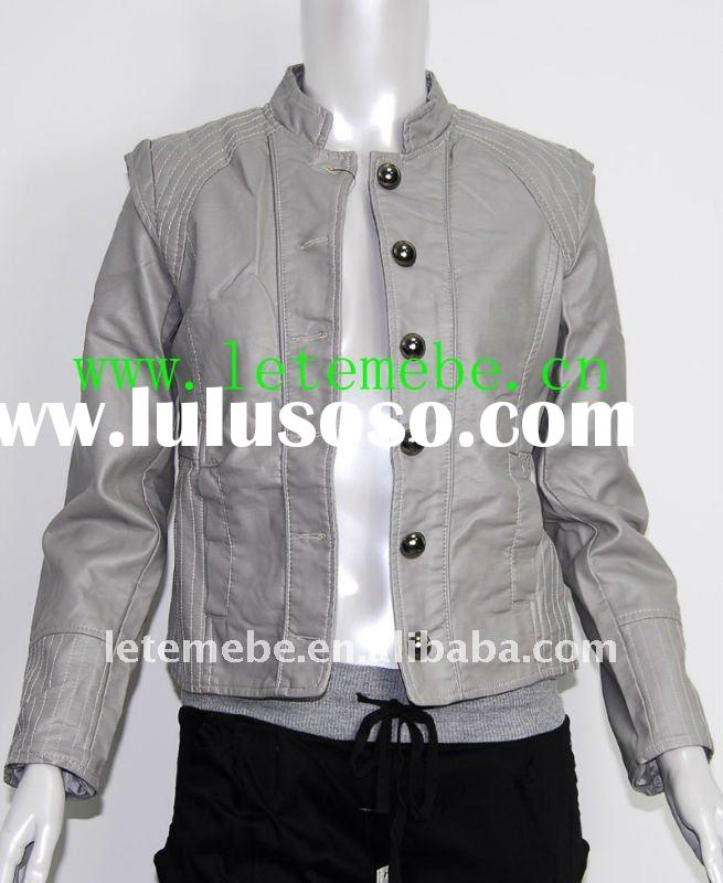 women's pu jacket or faux leather jacket in handsome design