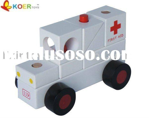 wooden ambulance toy ,wooden vehicle,wooden toy car,wooden gifts