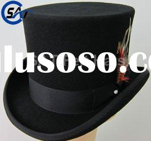 100% Australian wool felt Top hat with Satin lining,Grograin band and feather,England custom designe