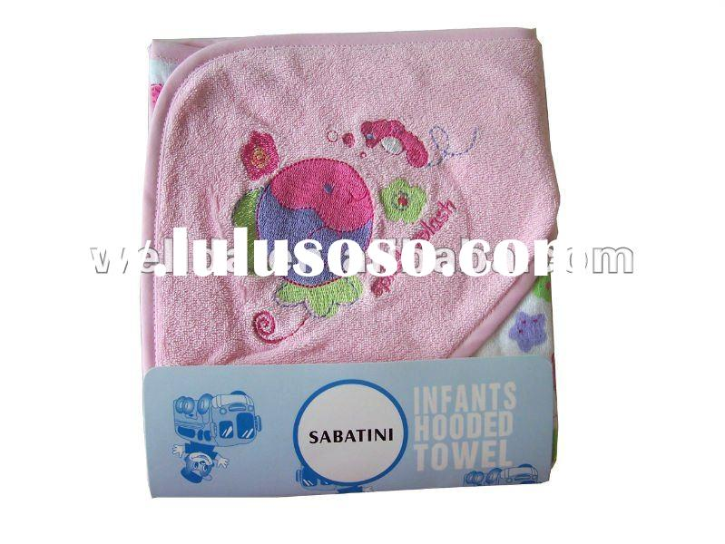 100% cotton embroidered fish baby hooded towel