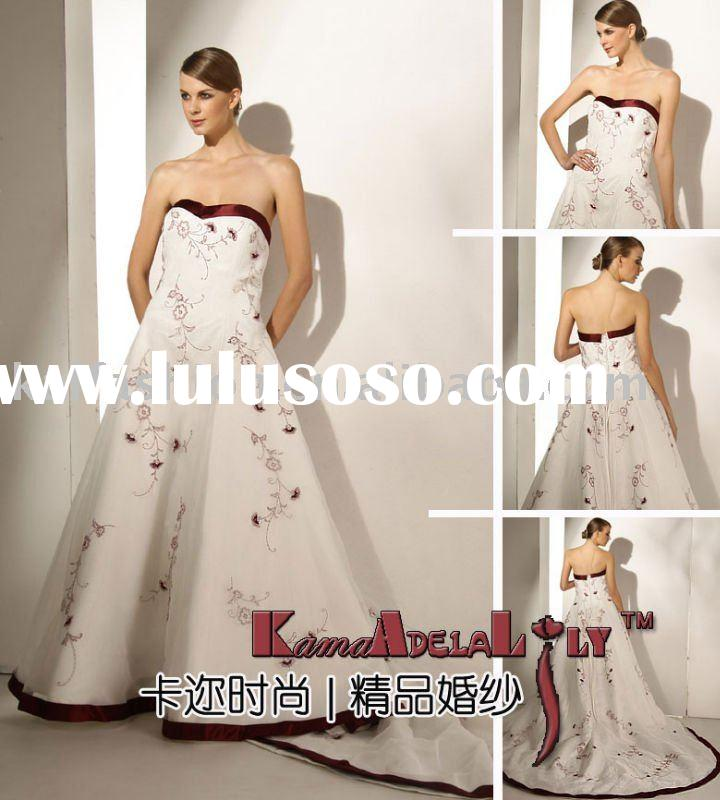 1389 top quality satin wedding gowns 2011 style match ribbon wedding dress wine red embriodery weddi