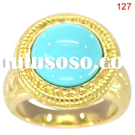 14K/18K pink/white/yellow gold white turquoise ring/fashion ring/gemstone ring/gemstone jewelry/fash