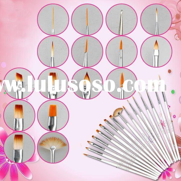 16x Acrylic Nail Art Brush Design Painting Draw Pen Set
