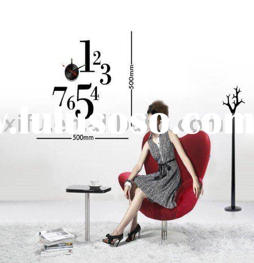2011Newest Item!Fashion Waterproof PVC Wall Stickers Clock,DIY Art Wall Hanging Clock Home Decor