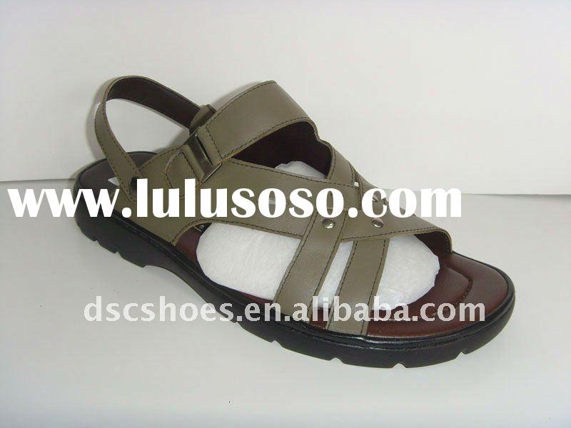 2011 Fashion Handmade Men Leather Sandals For SummerDSC9023