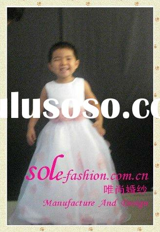 2011 Long Appliqued Cheap Real Sample organza Flower Girl Dress