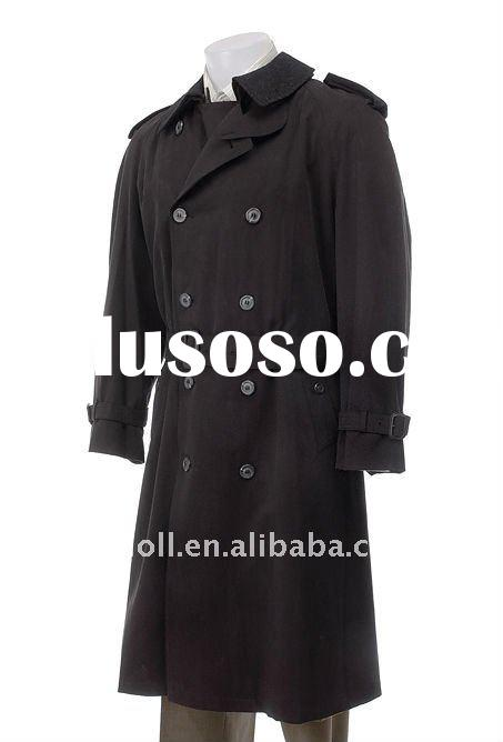 2011 Mens Double-Breasted Black Trench Coat